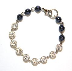 Swarovski Dark Blue Pearl Bracelet with Forever by GlitzAndLove