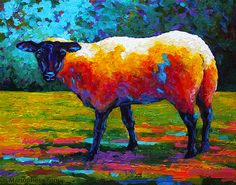 Suffolk Ewe III by Marion Rose Acrylic. I love her bold use of texture & color.