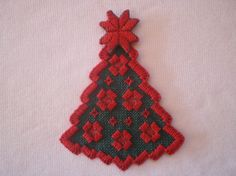 Hardanger Embroidered Christmas Tree Ornament by MnMom23 on Etsy