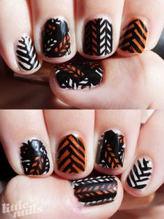 OPI Skull & Glossbones, OPI Bronzed To Perfection, BYS Black Nail Art Striper  Mani inspired by Precious Polish's tutorials(and this one)  read more here…