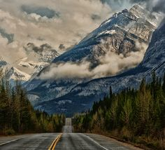 """""""Road to the clouds, Banff National Park, Alberta, Canada. By Jeff Clow"""" Colorado Springs, Banff National Park, National Parks, The Places Youll Go, Places To See, Beautiful World, Beautiful Places, Beautiful Beautiful, Beautiful Sunset"""