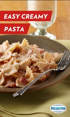 """This easy weeknight pasta saves on time, not flavor. Philadelphia Cream Cheese, fresh tomatoes and thick slices of bacon to come together for major """"YUM"""" factor. (Bonus: it only takes 20 minutes, start to finish!)"""
