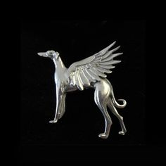 Greyhound Brooch - Pewter Greyhound Galgo Whippet Jewelry Pin - Angel Wings