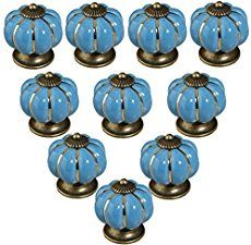 10pcs Pumpkin Ceramic Door Knobs Drawer Pull Handle Cabinet Cupboard Wardrobe (Grey Sky Blue)