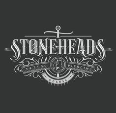 Typography - Logo design for Stoneheads Tattoo from Gdańsk, Poland. Art Deco Typography, Vintage Logo Design, Vintage Typography, Typography Letters, Graphic Design, Retro Design, Typography Inspiration, Logo Design Inspiration, Calligraphy Text