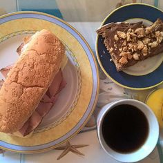 #friyay breakfast: Mozzarella, mortadella and pork steak with black pepper crust sandwich and a slice of buttered sourdough toast with milk chocolate spread and peanut butter cookie crumbs. #thenewbreakfasteverydayproject #livingmylifemyway