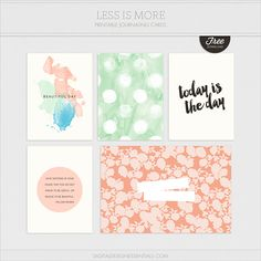 Quality DigiScrap Freebies: Less Is More journal cards freebie from Digital Design Essentials #projectlife