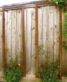 This Corten steel wall trellis is a great solution for tensioned wire trellis, that is not that expensive.