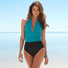 Soma Swim Collection: Be a vision in this colorblocked halter one piece swimsuit with plunging neckline and shirred midsection that sculpts you in for a slimming silhouette.