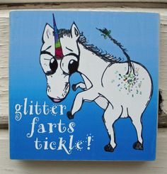 Unicorn Wall Plaque Funny Wall Art  Mixed Media by tamarakraft, $17.95