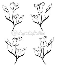 Vector illustration of a set of flower silhouette  isolated on w