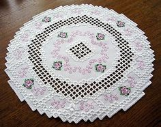 HARDANGER Embroidery - DOILY with little ROSES - new and handmade from Germany $