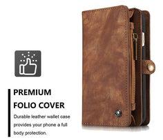 CaseMe iPhone 6S Plus/6 Plus Zipper Wallet Detachable 2 in 1 Folio Case Brown