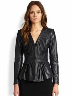 """This jacket is ideal for a """"cocktail casual"""" attire at a holiday party!  Armani Collezioni - Leather & Cotton/Flax Jacket - Saks.com #PartyDress #womensfashion2013 #coats"""