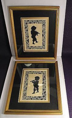 Pair-Framed-Double-Matted-Cut-Out-Silhouettes-Children-Musical-Instruments