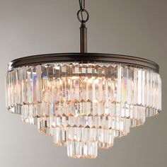 Modern Faceted Glass Layered Chandelier - Convertible