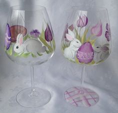 Hey, I found this really awesome Etsy listing at https://www.etsy.com/listing/223608996/set-of-two-ester-hand-painted-wine