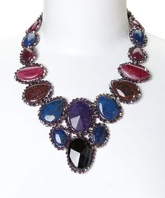 Another great find on #zulily! Navy & Purple Crystal Stone Bib Necklace by PANNEE JEWELRY #zulilyfinds