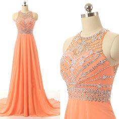 New Arrival Orange Prom Dresses Long Elegant Chiffon Party Evening Dress