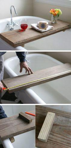 Rustic Bath Caddy From a Single Board of Reclaimed Wood    DIY Bathroom Storage Ideas on a Budget