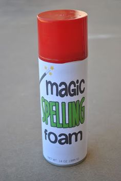 Magic Spelling Foam! Label is free to print and attach to saving cream bottle, kids put it on their desk and spell words! Extra flare to a common activity!