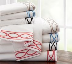 Zoe Embroidered 400 Thread Count Sheet Set #potterybarn