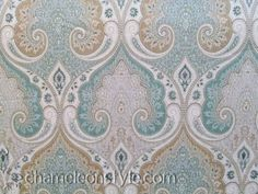Latika-Seafoam is a beautiful, calming, aqua and tan paisley mutipurpose fabric that is perfect for the bedroom, but can really go anywhere in the house. We love how easily it pairs with teals and the neutral tans, beiges, whites, and grays.