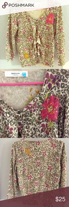 Anthropologie leopard cardigan Sparrow ruffle front vintage style 3/4 sleeve cardigan with real silk embroidery! Perfect with a little flare skirt or dolled up with dark denim pants! 33% viscose 23% nylon 18% cotton/ lambswool 4% cashmere - it says dry Clear only but handwash Is fine. Forgiving size, could fit a medium gal! :) Anthropologie Sweaters Cardigans