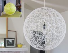 light pendant - diy w/string.  http://www.pickles.no/whirl-it-lampshade/