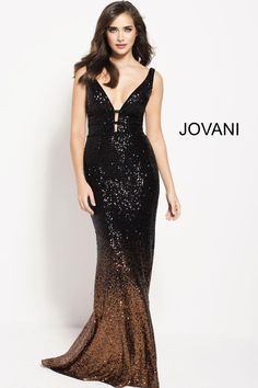 Style 56015 from Jovani is an ombre sequin sleeveless gown with plunging neckline.