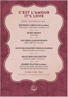The Press Room Valentine's Day Menu | Reserve a table at http://chope.com.hk/categories/restaurant/press-room