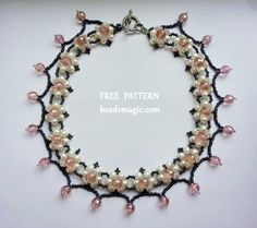 Free pattern for beaded necklace Phenny U need: pearls 4 mm faceted crystal beads 6