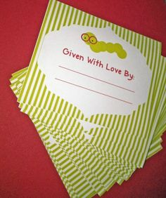 Bookworm Baby Shower themed Bookplates - Maybe have guests write the messages on them at the shower