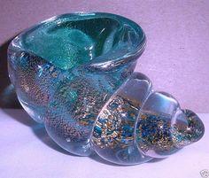 small ARCHIMEDE SEGUSO Incredible MURANO Glass SEASHELL Sculpture BOWL w/ Gold