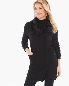 Chico's Women's Zenergy Knit Collection Faux-Fur Trim Jacket