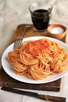 Spaghetti with Tomato Vodka Cream Sauce.