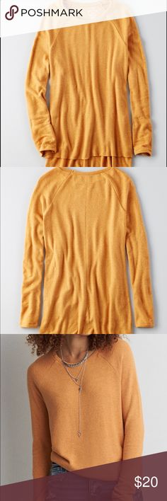 AEO Soft and Sexy Plush Crew Super soft and comfy AE sweater. Size medium. Worn once. Please see pic 4 for description. American Eagle Outfitters Sweaters Crew & Scoop Necks