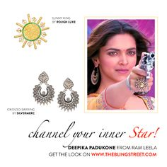 Happy Birthday @deepikapadukone!  Get Deepika's stunning look from @RamLeela with chunky silver & gold jewellery.   Earrings by Silvermerc Design: RIng by Rough Luxe:  #celebritylook #getthelook #deepikapadukonestyle #deepikapadukonelook #ootd #theblingstreet #blinglikedeepika — with Deepika Padukone, Silvermerc designs and Rough Luxe.