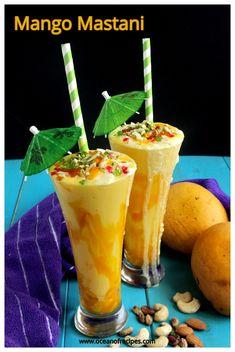 Mango mastani Mango Milkshake, Soaked Almonds, Mango Ice Cream, Chaat Recipe, Mango Puree, Dessert Drinks, Desserts, Refreshing Drinks, Cooking Time