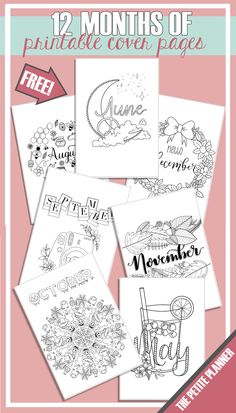 12 Months of Free Cover Page Printables for Your Bullet Journal ⋆ The Petite Planner 12 Months of Free Bullet Journal Cover Page Printables Bullet Journal Kit, Bullet Journal Free Printables, Bullet Journal Weekly Spread, January Bullet Journal, Bullet Journal Cover Page, Journal Template, Bullet Journal Themes, Journal Covers, Bullet Journal Months