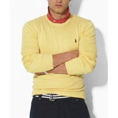 Ralph Lauren Classic Men Polo Crewneck - Yellow Sale,Classic-fitting  long-sleeved crewneck sweater in soft lambswool for refined comfort and  style.