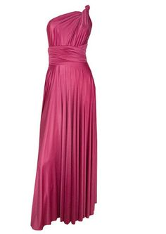 Long Satin Ball Gown - Raspberry