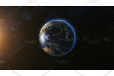 Space view on Planet Earth and Sun in Universe , City Lights At Night, Night City, Restaurant Website Templates, Ivory Coast, Travel Photographer, Milky Way, Planet Earth, Planets, Universe