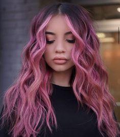 Balayage Highlights for Long Pink Hair Hair Color Pink, Hair Dye Colors, Cool Hair Color, Pink Ombre Hair, Hair Color Ideas, Long Pink Hair, Short Colorful Hair, Hair With Color, Hair And Beauty