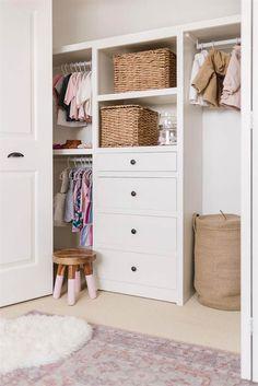 Dresser In Closet, Built In Dresser, Closet Drawers, Baby Room Closet, Boys Closet, Closet Bedroom, Closet Organizer With Drawers, Baby Closet Organization, Organization Ideas