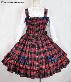 metamorphose temps de fille タータンチェックシャーリングジャンパースカート