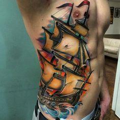 Beste Piratenschiff Tattoo Designs & Bedeutungen - Masters of the Seas - Tattoo Ideen Tattoo Life, See Tattoo, Band Tattoo, Tattoo Blog, Tattoo Ship, Tattoo Designs And Meanings, Tattoos With Meaning, Pirate Ship Tattoos, Pointillism Tattoo