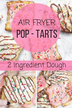 Bite into your favorite childhood breakfast guilt-free with these homemade air-fryer poptarts. Air Fryer Pop-Tarts (with 2 ingredient dough!) - Bite into your favorite childhood breakfast guilt-free with these homemade air-fryer poptarts. Air Fryer Oven Recipes, Air Frier Recipes, Air Fryer Dinner Recipes, Healthy Dessert Recipes, Gourmet Recipes, Desserts, Healthy Pop Tart Recipe, Healthy Meals, Healthy Breakfasts
