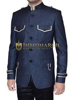 Mens band collar safari 5 button jodhpuri suit made in steel blue jute fabric. Suit Fashion, Mens Fashion, Western Suits, Church Fashion, Cargo Pants Men, Special Dresses, Fashion Sewing, Wedding Men, Mens Suits
