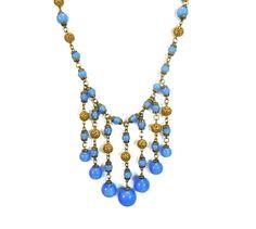 1920s Fringe Filigree Czech Glass Bead Necklace Art Deco Era